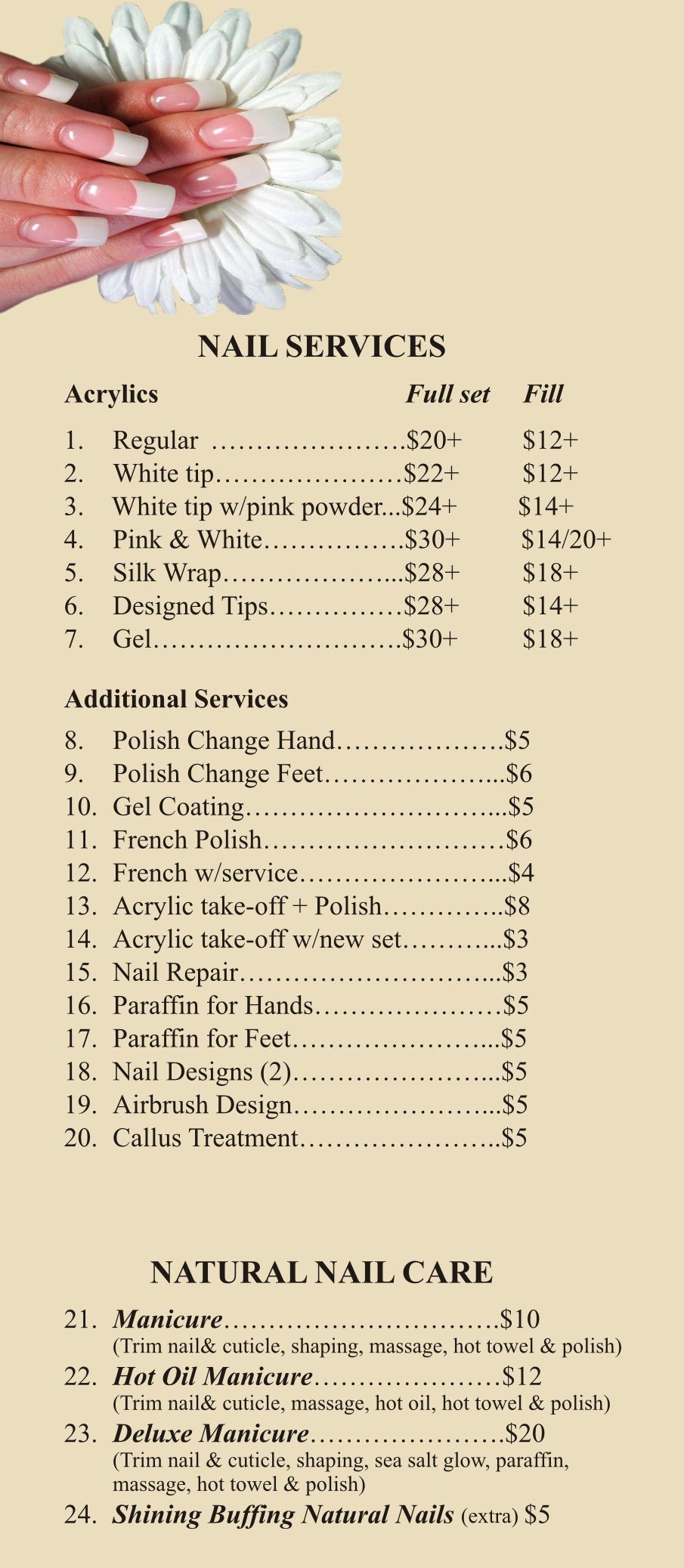 Price list for A list nail salon